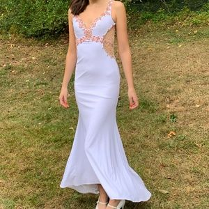 Vintage White Beaded Bustier Prom Maxi Dress